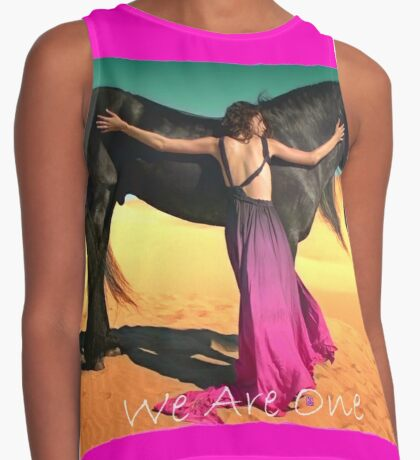WE ARE ONE (Lady and the Black Horse) Contrast Tank