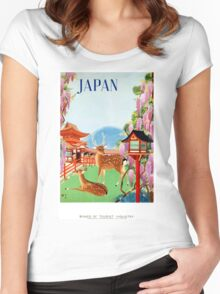 Vintage Japan Temple Travel Poster Women's Fitted Scoop T-Shirt