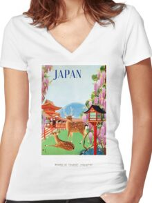 Vintage Japan Temple Travel Poster Women's Fitted V-Neck T-Shirt