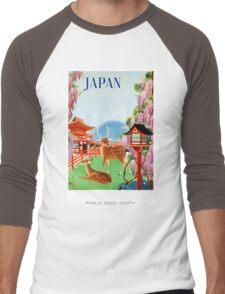 Vintage Japan Temple Travel Poster Men's Baseball ¾ T-Shirt