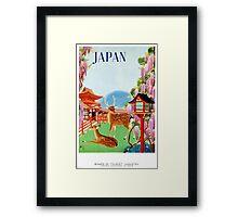 Vintage Japan Temple Travel Poster Framed Print