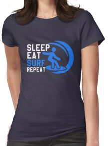 Sleep Eat Surf Repeat Womens Fitted T-Shirt