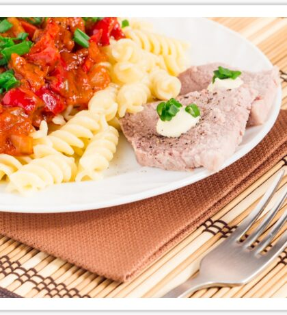 Italian pasta and slices of meat Sticker