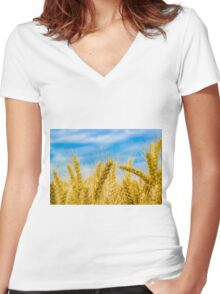Wheat Field Women's Fitted V-Neck T-Shirt