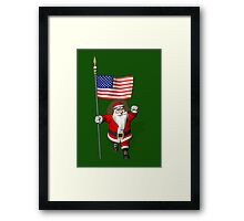 Santa Claus With Flag Of The USA Framed Print
