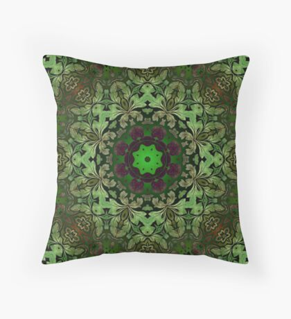 Renaissance art  bohemian print forest green Mandala  Throw Pillow