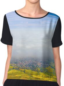 Beautiful white foggy layer over vineyards of Alsace, France, aerial view Chiffon Top