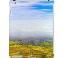 Beautiful white foggy layer over vineyards of Alsace, France, aerial view iPad Case/Skin
