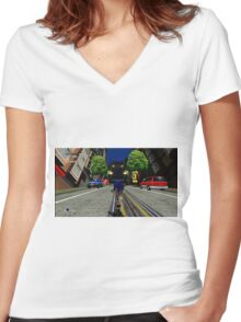 Sonic Adventure 2 Women's Fitted V-Neck T-Shirt