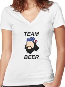 TEAM BEER  Women's Fitted V-Neck T-Shirt
