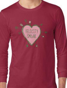 Felicity Smoak - Heart with Green Arrows Doodle Long Sleeve T-Shirt