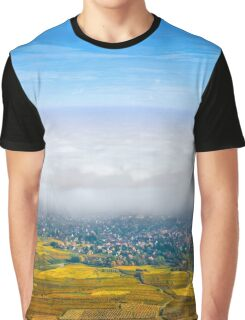 Beautiful white foggy layer over vineyards of Alsace, France, aerial view Graphic T-Shirt