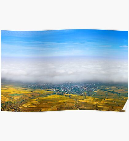 Beautiful white foggy layer over vineyards of Alsace, France, aerial view Poster