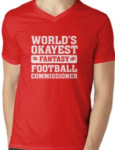 World's Okayest Fantasy Football Commissioner Funny Mens V-Neck T-Shirt