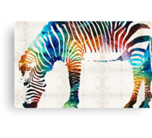 Colorful Zebra Art by Sharon Cummings Canvas Print