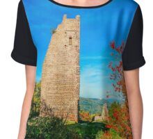 Old medieval castle ruins in Alsace, France. Sunny autumn day. Chiffon Top