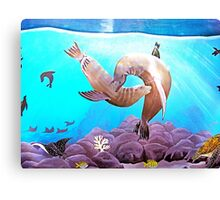 Sea Lions Under The Blue Ocean Painting  Canvas Print