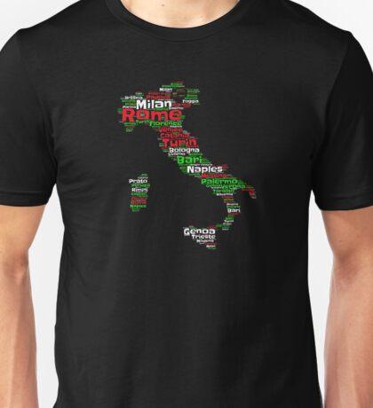 Italy Outline Flag Color Graphic Design Italian Turin Venice Bari Rome Unisex T-Shirt