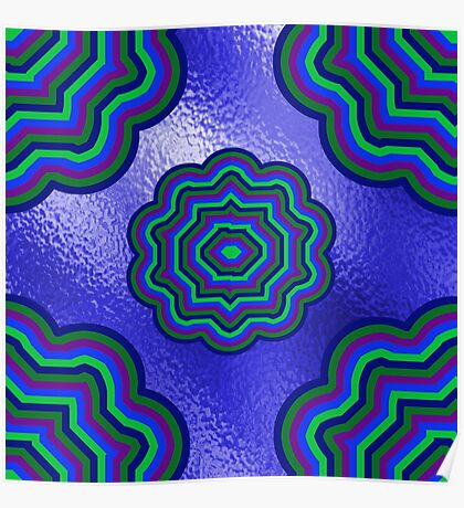 Blue Glass Moony Mums Poster