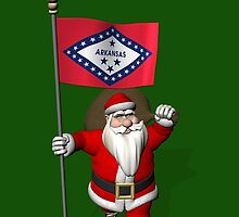 Santa Claus With Flag Of Arkansas by Mythos57