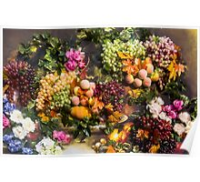 3D Fruits & the painted flowers Poster