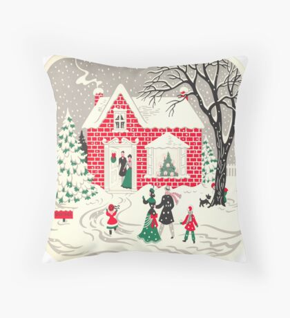 primitive brick house cottage country christmas winter wonderland Throw Pillow