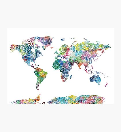 world map mandala 6 Photographic Print