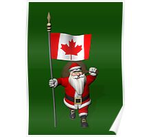 Santa Claus With Flag Of Canada Poster