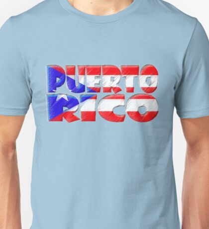 Puerto Rico Font with Puerto Rican Flag Unisex T-Shirt