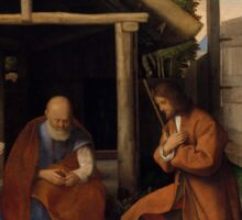 Shepherds Visit Christ Child Sticker