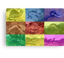 Vintage Dinosaur Illustrations Ver.Warhol Canvas Print