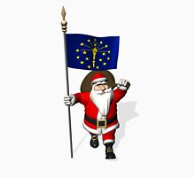 Santa Claus With Flag Of Indiana Unisex T-Shirt