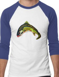 Waterton Lakes National Park Alberta Vintage Travel Decal Men's Baseball ¾ T-Shirt