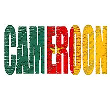 Cameroon Font with Flag Photographic Print