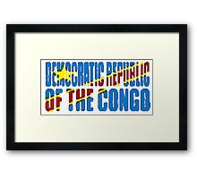 Democratic Republic of the Congo Font with Flag Framed Print