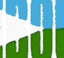 Djibouti Font with Flag Sticker