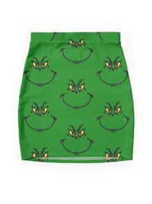 Mr Grinch Face Mini Skirt