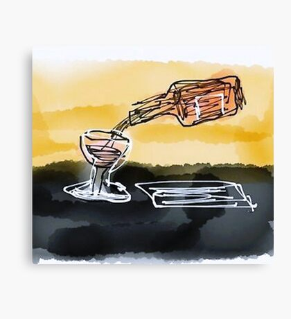 Large Retro Glass and bottle  Canvas Print