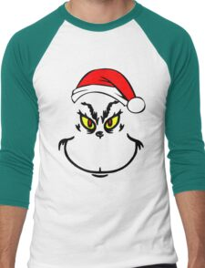 Mr Grinch With Santa Hat Men's Baseball ¾ T-Shirt