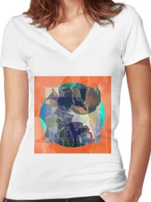 Abstraction on Orange: Maps & Apps Series Women's Fitted V-Neck T-Shirt