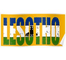 Lesotho Font with Flag Poster