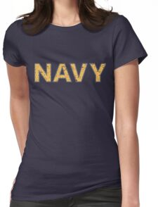 Distressed NAVY  Womens Fitted T-Shirt