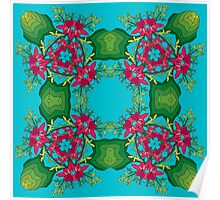 Psychedelic jungle kaleidoscope ornament 6 Poster