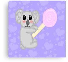 Kawaii Koala with a lollipop Canvas Print