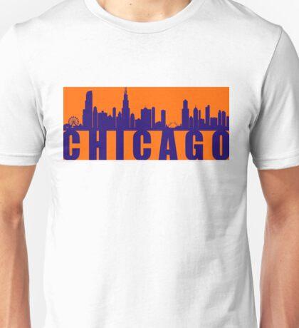Chicago Orange and Blue Skyline Unisex T-Shirt