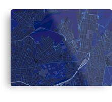 Sydney Inner West Map in Blue Metal Print
