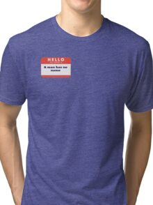 A man is considering to buy... Tri-blend T-Shirt