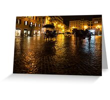 Golden Glow - Night on the Spanish Steps Piazza in Rome, Italy Greeting Card