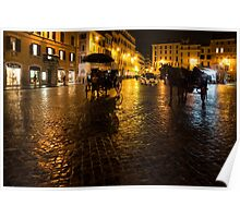 Golden Glow - Night on the Spanish Steps Piazza in Rome, Italy Poster