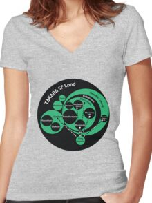 A Phylogeny of Robots: Green-Black Women's Fitted V-Neck T-Shirt